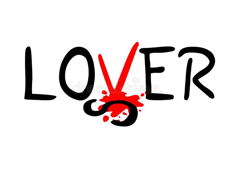 Mensaje del perdedor y del amante ilustración del vector