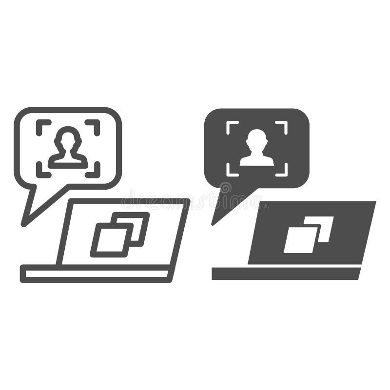 Mensaje del usuario en línea del ordenador portátil e icono del glyph Ejemplo del vector del cliente de la reacci?n aislado en bl libre illustration