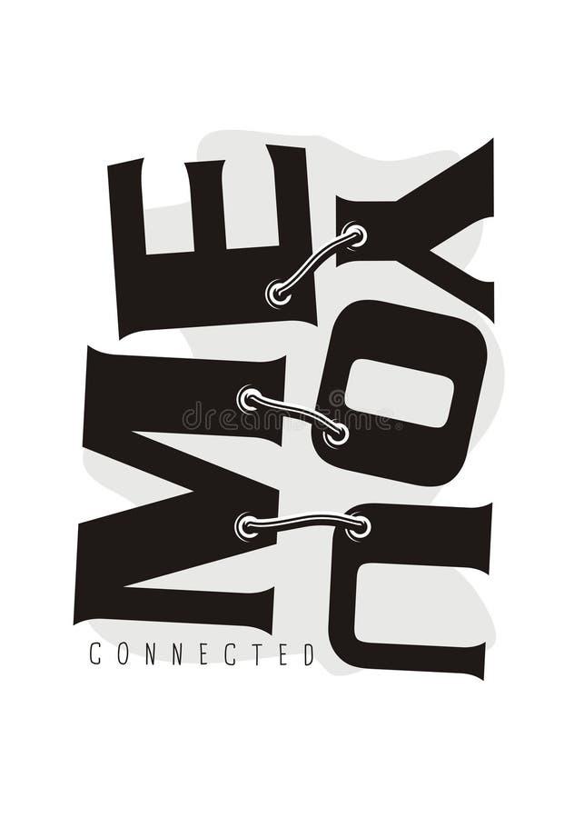 Mensaje emocional del amor como idea para la impresión de la camiseta stock de ilustración