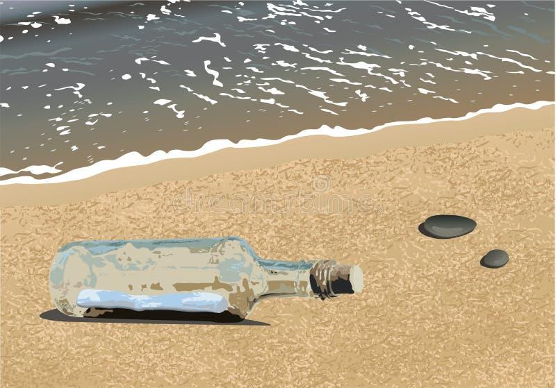 Mensaje en la botella ilustración del vector