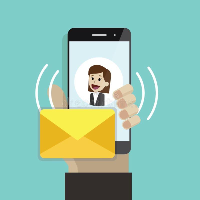 Mensaje entrante o correo electrónico Mano humana que sostiene el teléfono móvil Smartphone con la pantalla del SMS con las mujer ilustración del vector
