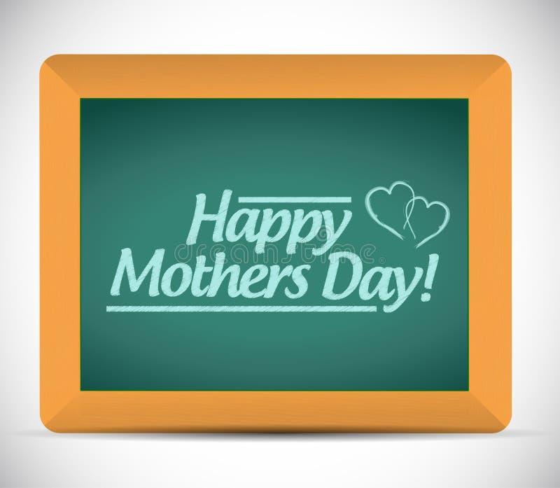 Mensaje feliz del día de madres en una pizarra libre illustration