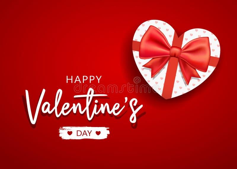 Mensaje feliz del día de tarjeta del día de San Valentín con forma del corazón de la caja de regalo y la cinta roja del arco ilustración del vector