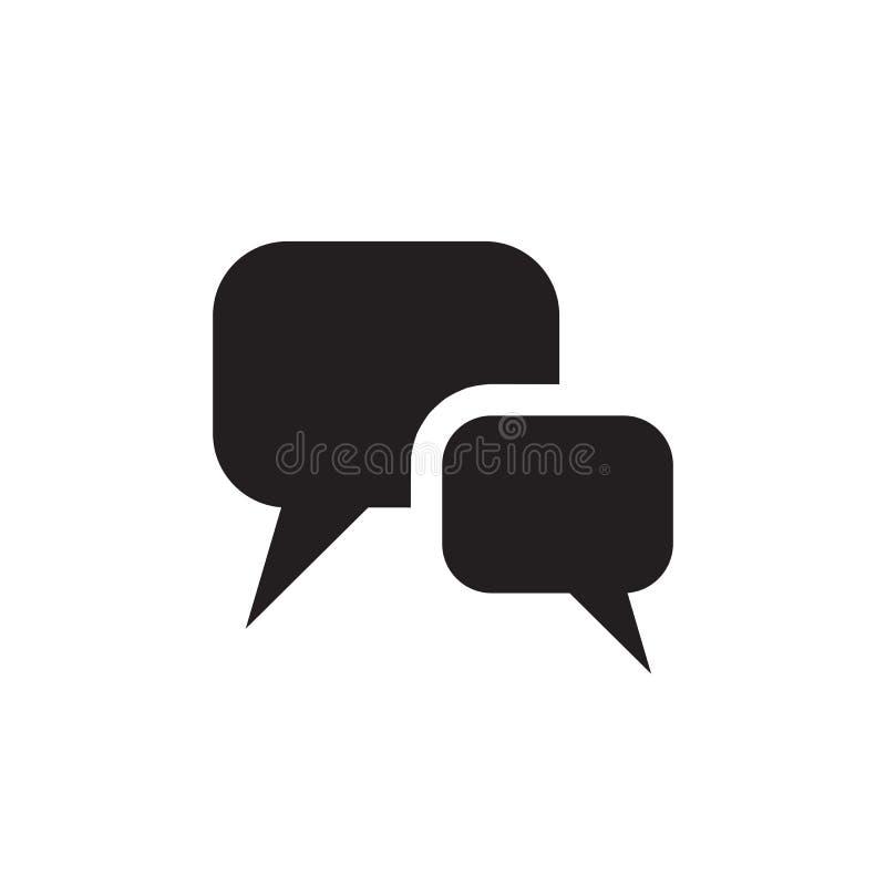 Mensaje - icono negro en el ejemplo blanco del vector del fondo para la página web, aplicación móvil, presentación, infographic t ilustración del vector