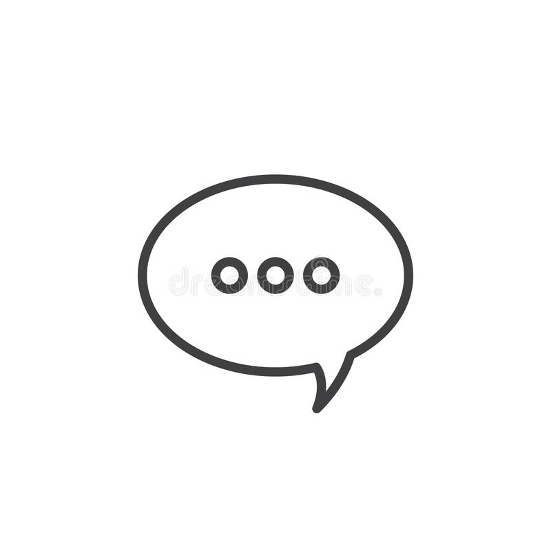 Mensaje, línea icono, muestra del vector del esquema, pictograma linear de la burbuja del discurso del estilo aislado en blanco stock de ilustración