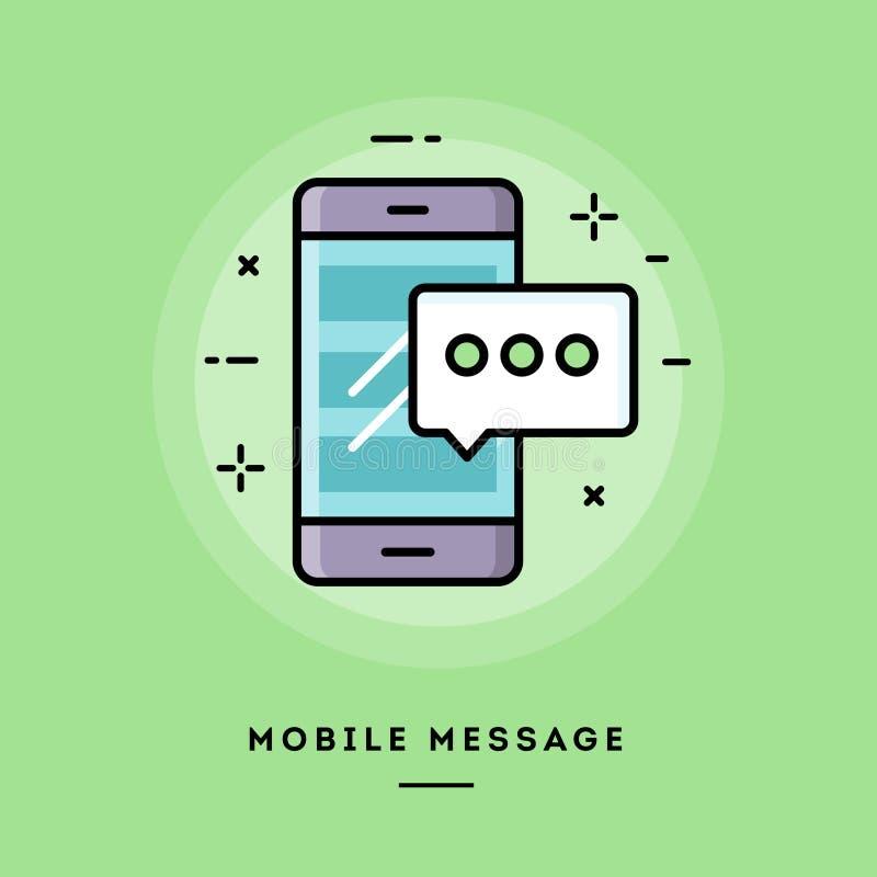 Mensaje móvil, línea fina bandera del diseño plano libre illustration