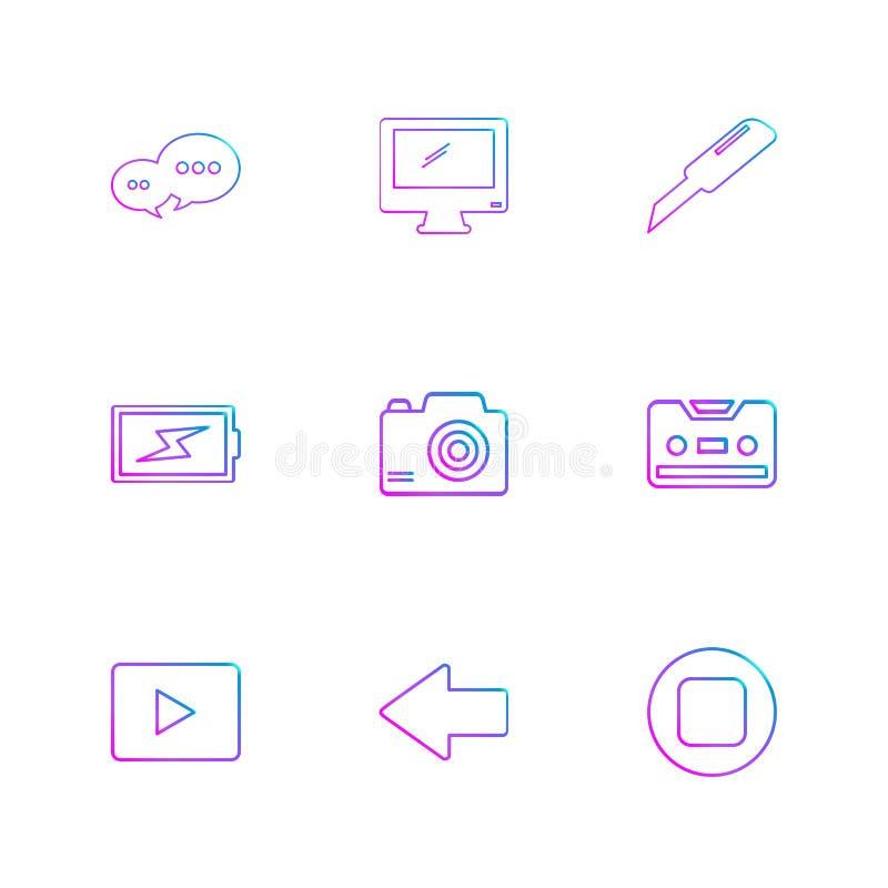 mensaje, monitor, cortador, batería, tecleo, casete, juego, y libre illustration
