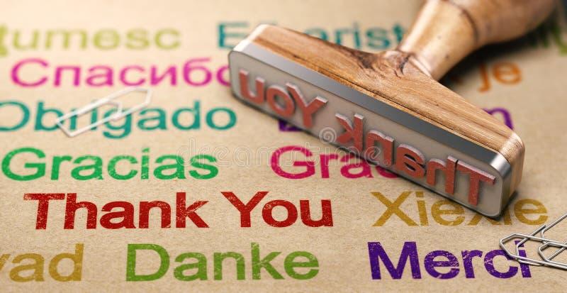 Mensaje multilingüe de gracias, usando las idiomas del inglés, del alemán, españolas y francesas foto de archivo