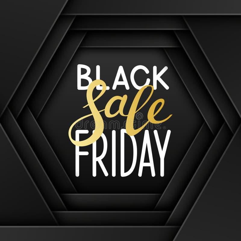 Mensaje negro de viernes con hexágonos del corte del papel stock de ilustración