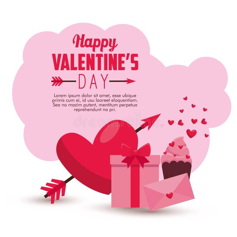 Mensaje y corazón de la tarjeta de la tarjeta del día de San Valentín con la flecha libre illustration