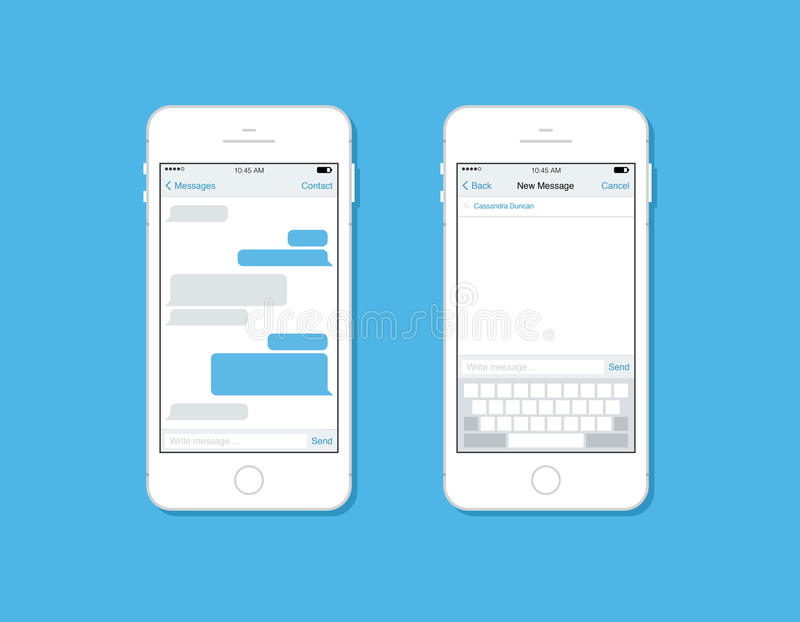 Mensajería y charla en plantilla del vector del teléfono móvil libre illustration