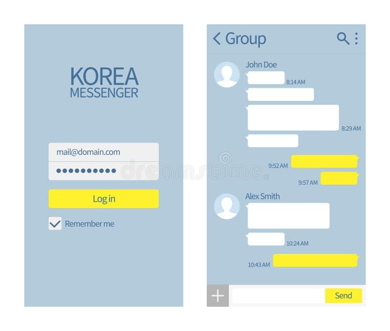 Mensajero coreano Interfaz de la charla de Kakao con la plantilla del mensaje del vector de las cajas y de los iconos de la charl stock de ilustración