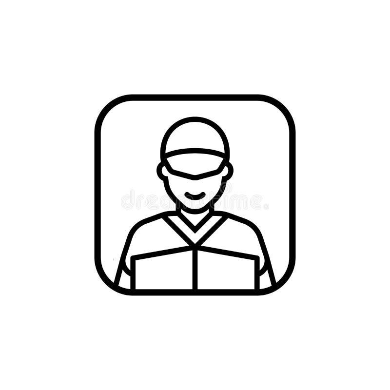 Mensajero de la orden de expedición de la sonrisa con el uniforme y la caja en la línea icono del círculo Ejemplo del vector en e ilustración del vector
