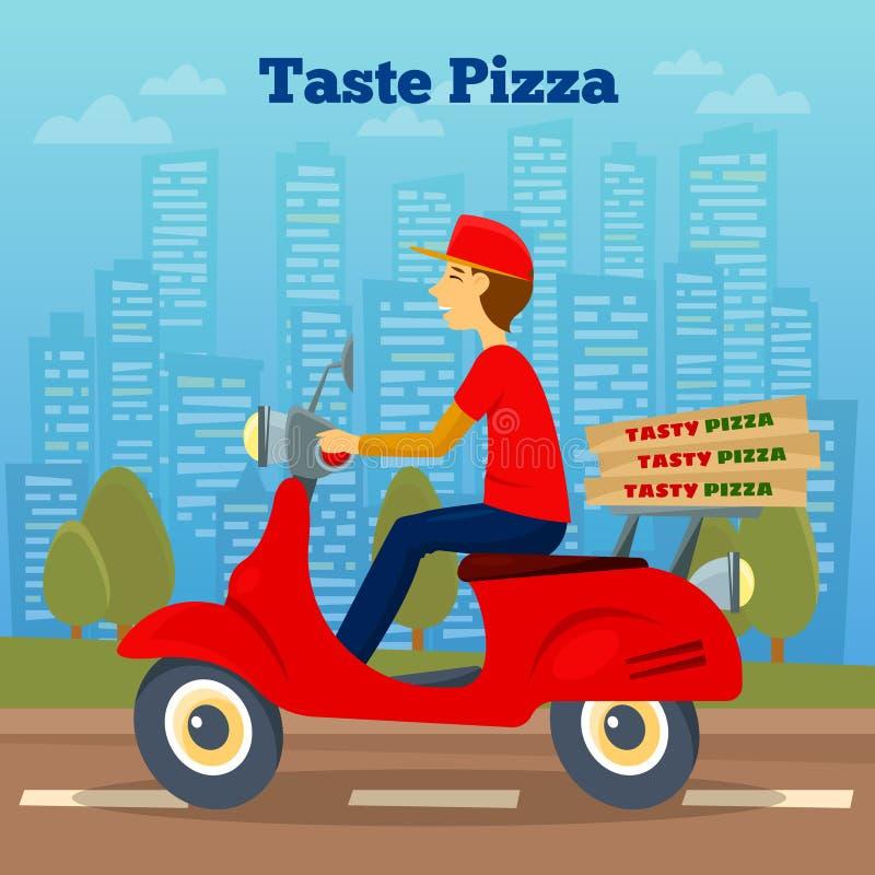 Mensajero de la pizza en la vespa Entrega de la pizza ilustración del vector