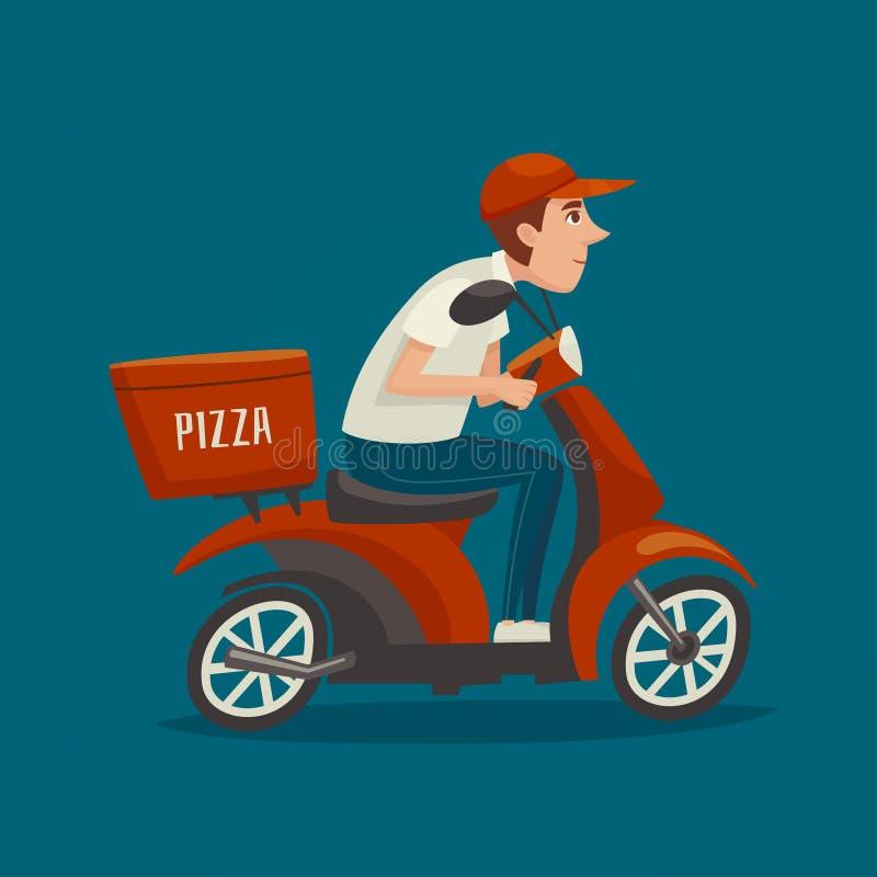 Mensajero de PrintPizza, conductor de la vespa de la historieta, diseño de carácter masculino del hombre del muchacho, entrega de stock de ilustración