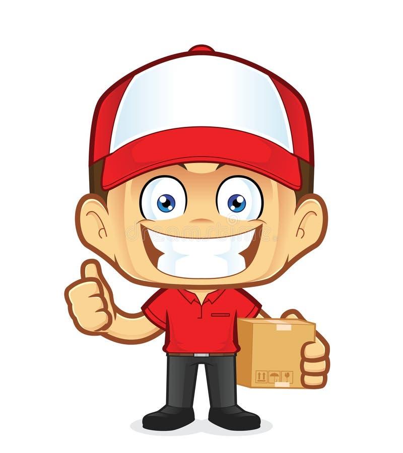 Mensajero del hombre de entrega que sostiene una caja y que da los pulgares para arriba stock de ilustración
