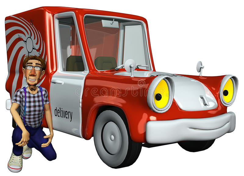 mensajero del hombre de negocios 3d al lado del coche libre illustration