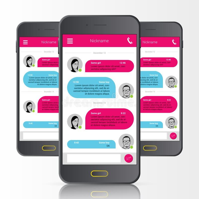 Mensajero del SMS Burbujas del discurso Interfaz de la charla del teléfono Vector ilustración del vector