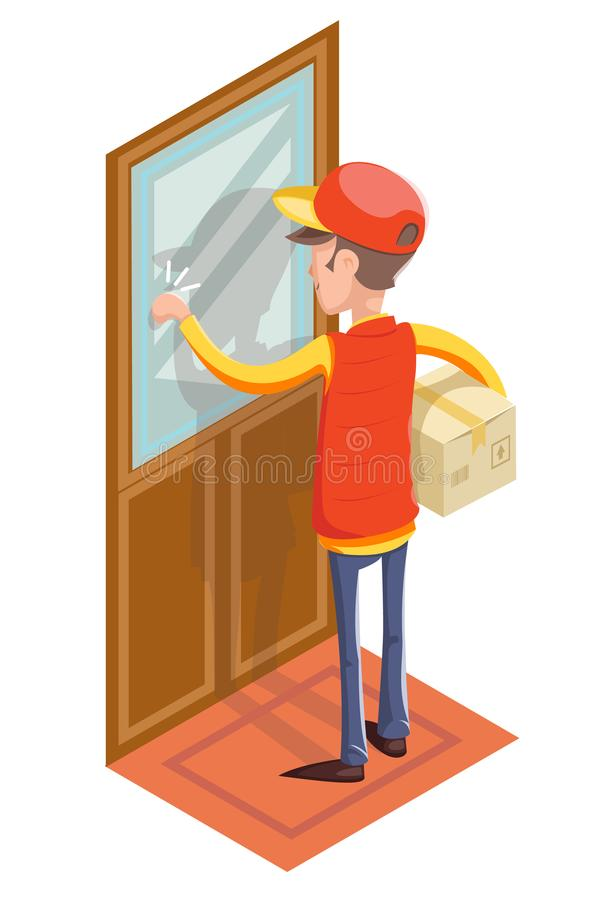 Mensajero expreso Cardboard Box Concept del hombre de Special Delivery Boy del mensajero que golpea en el icono aislado puerta de ilustración del vector