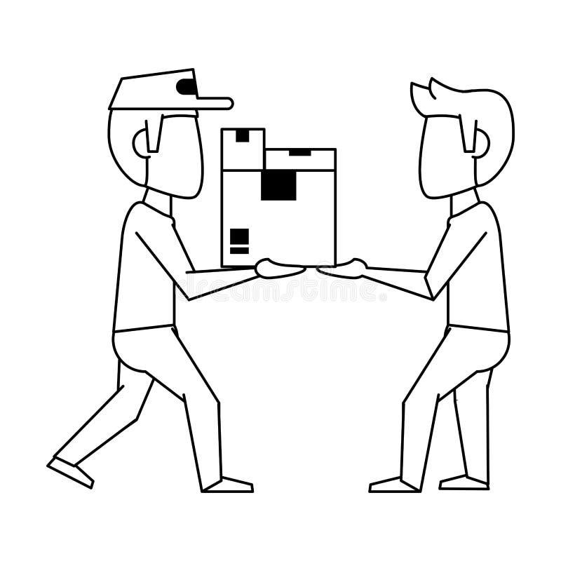 Mensajero que entrega las cajas al cliente en blanco y negro libre illustration