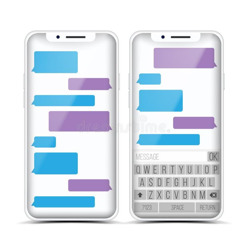 Mensajero Vector Burbujas del discurso Interfaz de la charla del teléfono Smartphone realista Concepto de la comunicación Aislado ilustración del vector