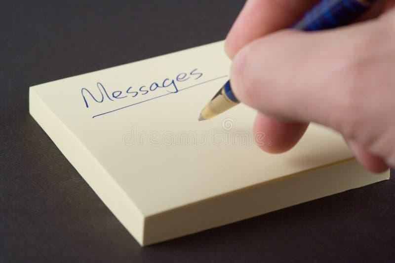Mensajes de la escritura fotos de archivo