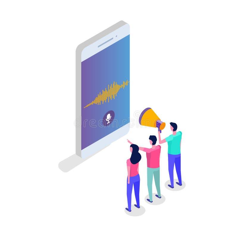 Mensajes de la voz, concepto isométrico del reconocimiento vocal con el carácter Puede utilizar para la bandera de la web, aterri ilustración del vector