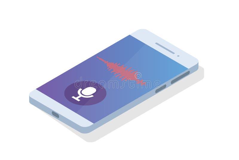 Mensajes de la voz, concepto isométrico del reconocimiento vocal Puede utilizar para la bandera de la web, aterrizando la plantil libre illustration