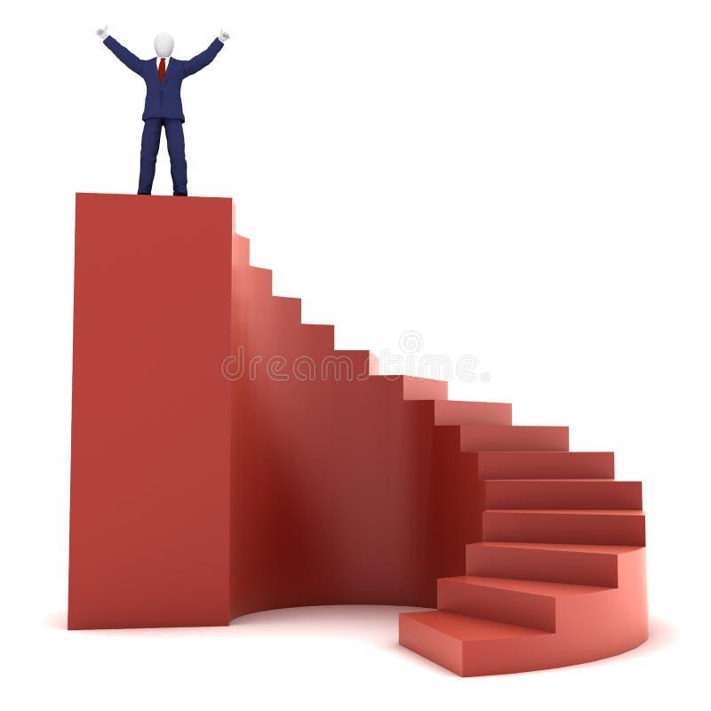 Mensch 3d auf Erfolgstreppen vektor abbildung