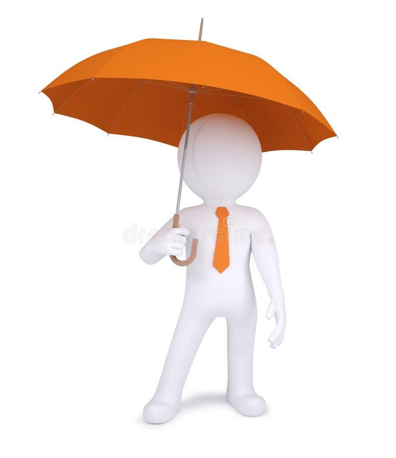 Mensch 3d, der einen orange Regenschirm anhält lizenzfreie abbildung