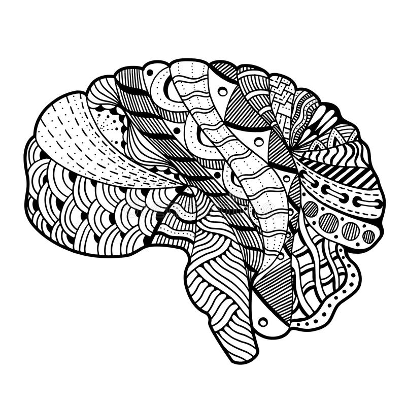 Mensch Brain Doodle vektor abbildung. Illustration von kunst - 65934643