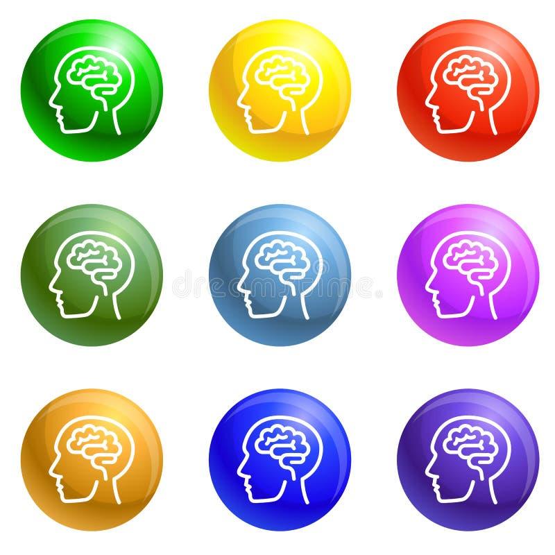 Mensch denken Gehirnikonen-Satzvektor lizenzfreie abbildung
