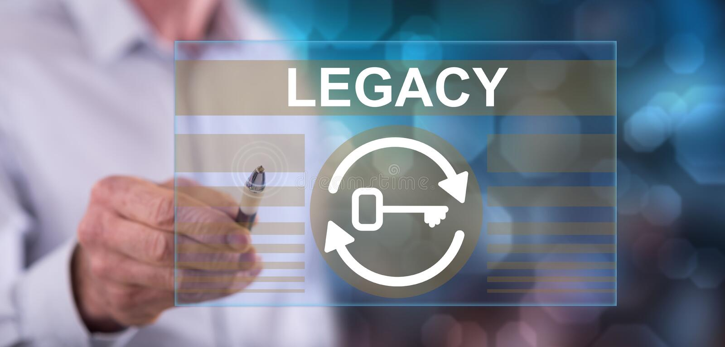 Mensch, der ein Legacy-Konzept berührt stock abbildung