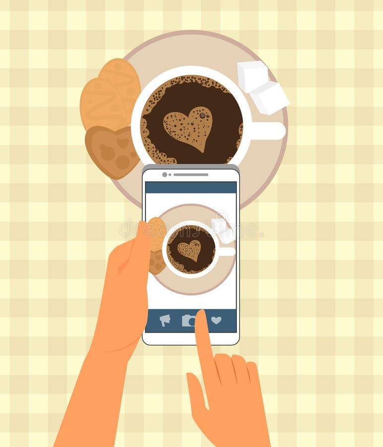 Mensch fotografiert seinen Tasse Kaffee herein vektor abbildung