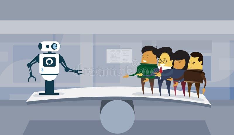 Mensch gegen Roboter-modernes Roboter und Geschäftsleute Gruppen-über Büro-Hintergrund-künstliche Intelligenz-Konzept vektor abbildung
