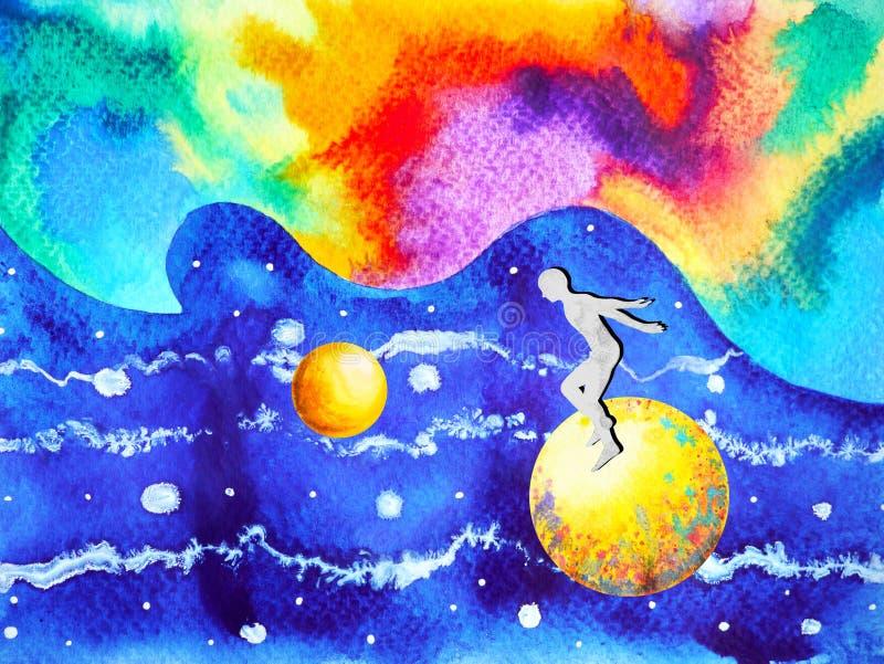 Mensch und bunte starke Energie des Geistes schließt an das Universum an stock abbildung