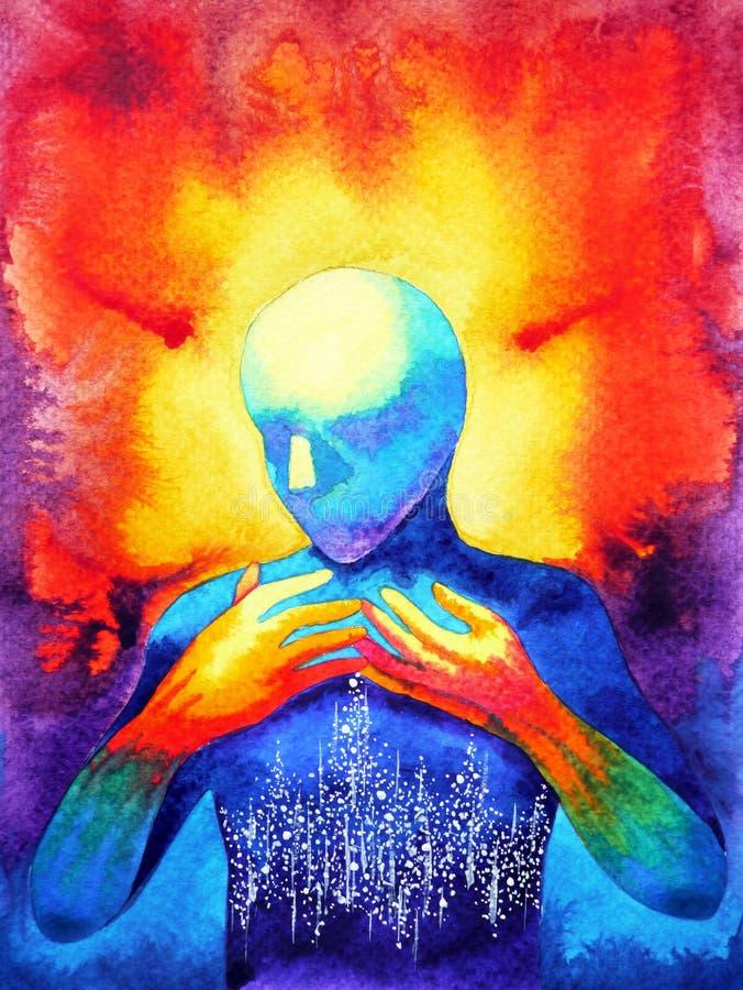 Mensch und starke Energie der Geistverbindung schließt an das Universum an stock abbildung