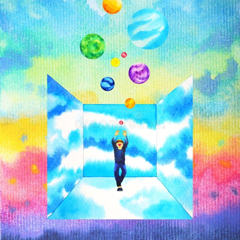 Mensch und starke Energie des Geistes schließt an die Aquarellmalereiillustrationsentwurfs-Handzeichnung der Universumenergieabst stock abbildung