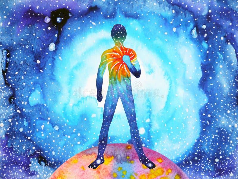 Mensch und starke Energie des Geistes schließt an die Universumenergie an vektor abbildung