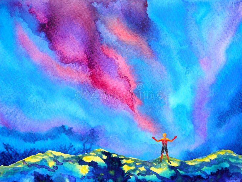 Mensch und starke Energie des Geistes schließt an die Universumenergie an lizenzfreie abbildung