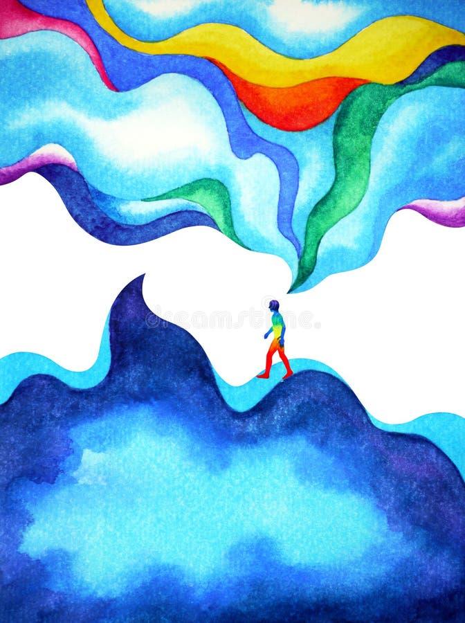 Mensch und starke Energie des Geistes Sinnesschließt an das Universum an lizenzfreie abbildung