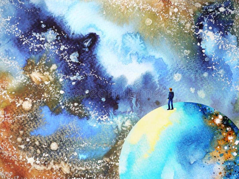 Mensch und starke Energie des Geistes Sinnesuniversum-Energiezusammenfassung anschließen stock abbildung