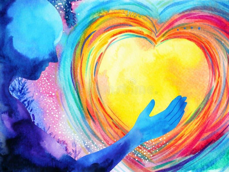 Mensch und starke Energie des Liebesgeistes schließt an die Universumenergie an lizenzfreie abbildung