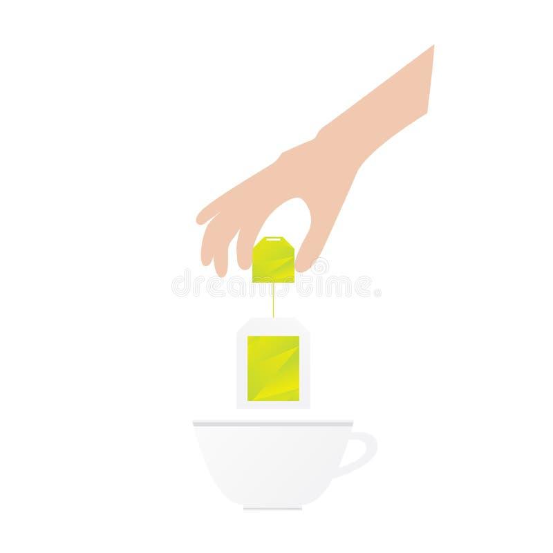 Menschen übergeben hält Teebeutel lizenzfreie abbildung