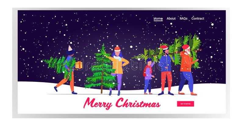Menschen, die frisch abgeschnittene Weihnachtsfeiertage mit Schneefall-Landschaft verbringen lizenzfreie abbildung