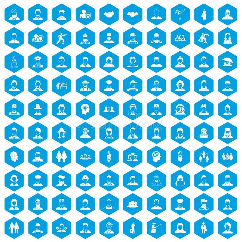100 Menschen Ikonen blau eingestellt lizenzfreie abbildung