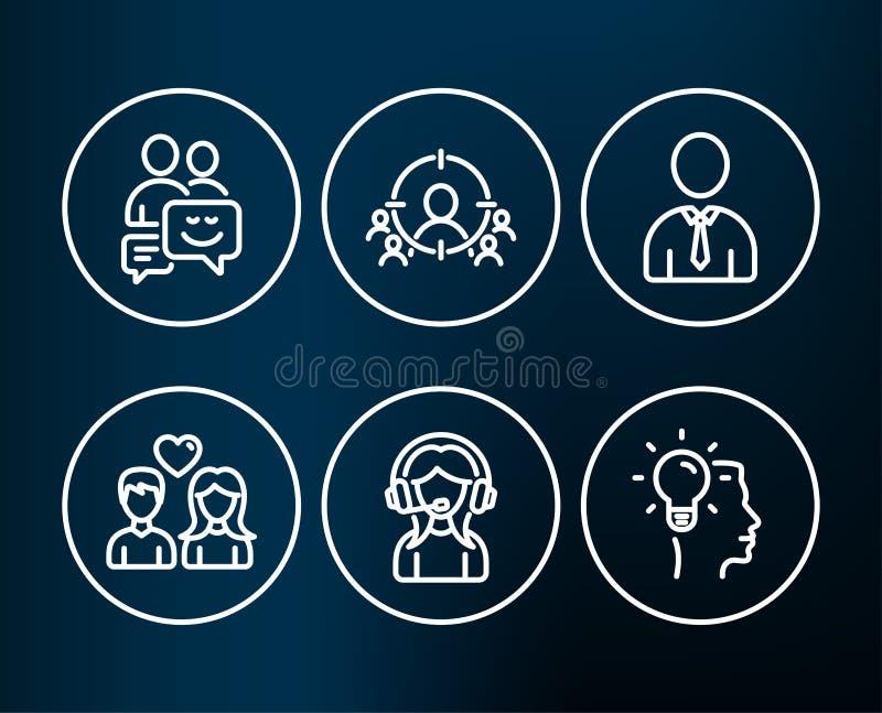 Menschen-, Stütz- und Kommunikationsikonen Das anvisierende Geschäft, Paar lieben und Ideenzeichen vektor abbildung