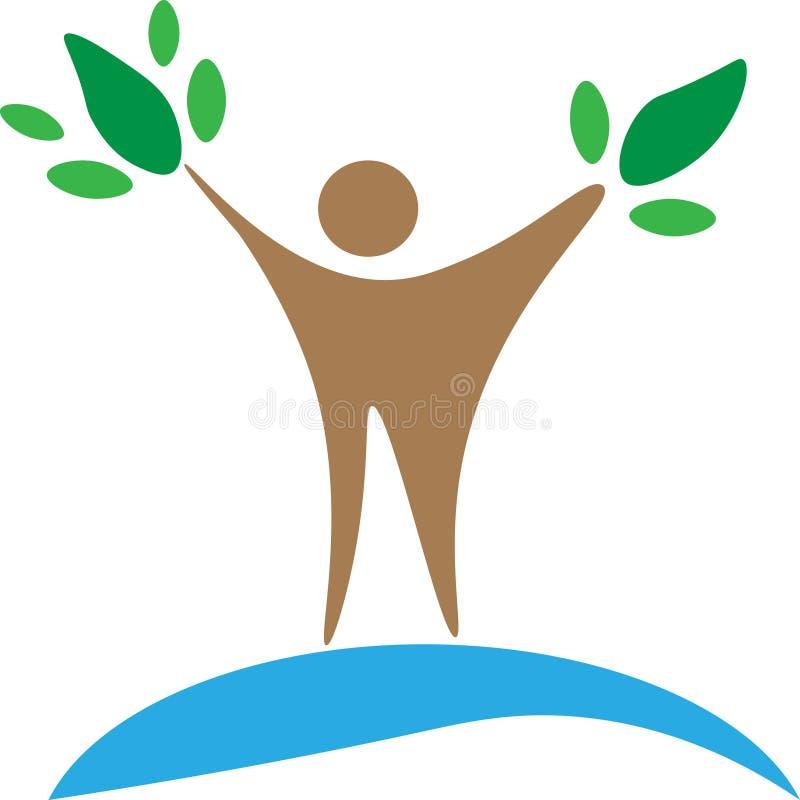 Menschen- und Baumvektorlogo Grüner Planet Naturproduktidee der Umwelt Männer, drei Personen, Blätter vektor abbildung