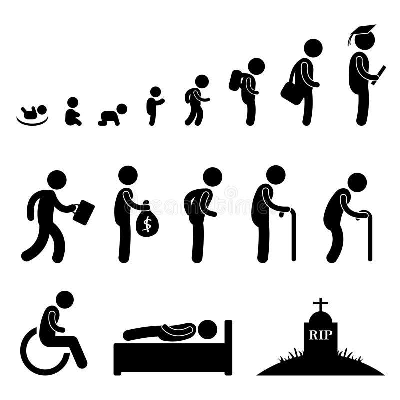 Menschenleben-Schätzchen-Kind-Kursteilnehmer-Arbeits-alter Mann-Tod stock abbildung