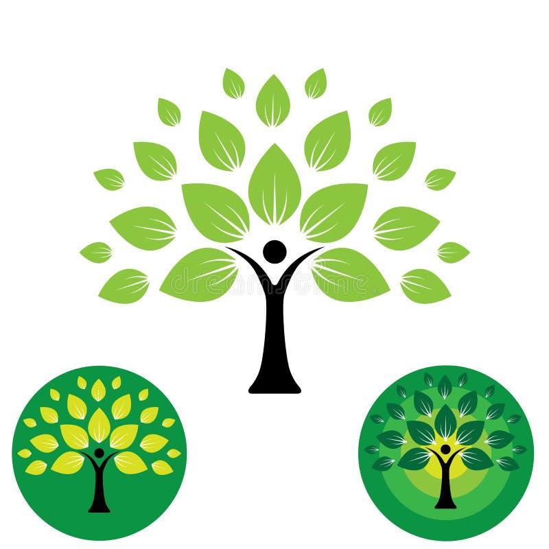 Menschenlebenlogoikone des abstrakten Leutebaumvektors lizenzfreie abbildung